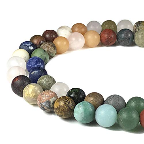 [ABCgems] Rare Matte Mixed Stones (Exquisite Combination) 8mm Smooth Round Beads for Beading & Jewelry ()