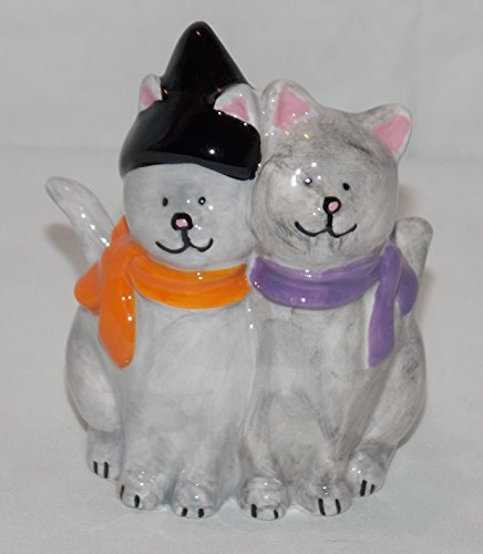 Halloween Cuddeling Grey Cats Kitty Tea Light Buddy Candle Holder