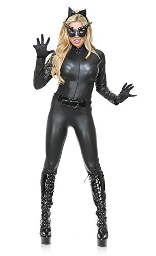Charades Women's Cat Suit Costume With Mask,