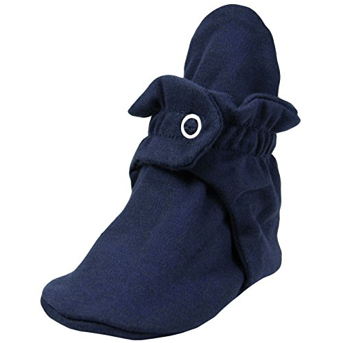 Heather Footwear (Zutano Cotton Booties Unisex For Baby Boys or Baby Girls - Navy - 12 Months)