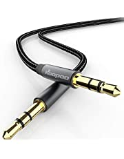 3.5mm AUX Audio Male to Male Stereo Jack Cable, KOOPAO 3.5mm Aux Auxiliary Audio HiFi Sound Nylon Braided Cord for All 3.5mm-Enabled Devices Headphones iPhones IPads, Home Speaker, Cars 3.28Ft