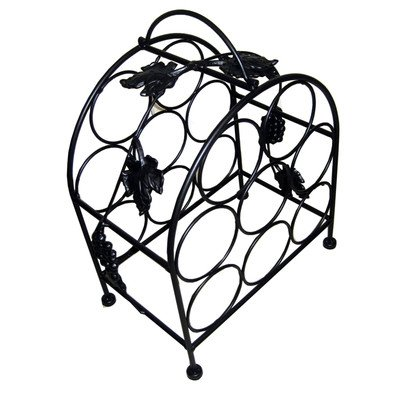 Pangaea Home and Garden BT-W058-K 8 Bottle Iron Wine Rack with Grape Vines