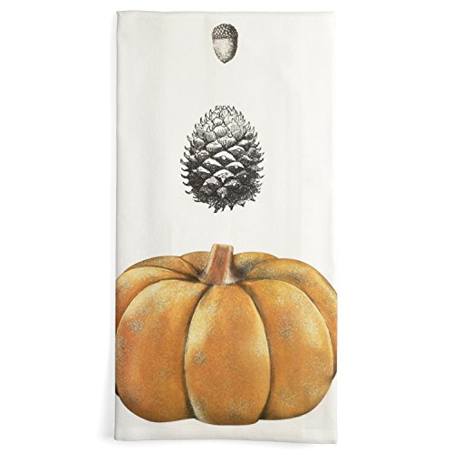 - Montgomery Street Pumpkin, Pinecone, and Acorn Cotton Flour Sack Dish Towel