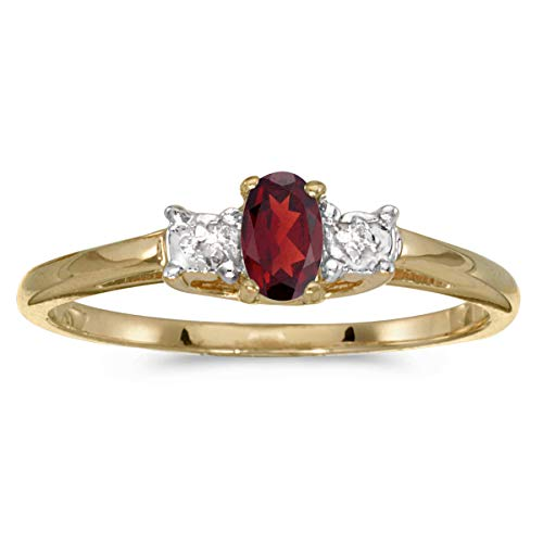 (10k Yellow Gold Oval Garnet And Diamond Ring (Size 6.5))
