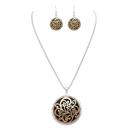 Two Tone Medallion - Rosemarie Collections Beautiful Two Tone Medallion Pendant Necklace Earring Set