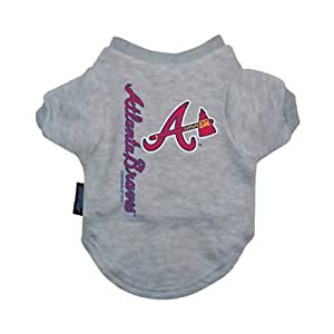 Hunter Mfg Atlanta Braves Dog Tee Shirt, Pet Clothes, 100% Cotton, Size - Medium