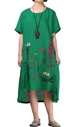 FTCayanz Women's Linen Summer Dresses Embroidered A-Line Long Tunic Dress Green Medium