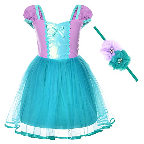 Little Mermaid Princess Ariel Costume for Toddler Girls Dress With Crown(3T -