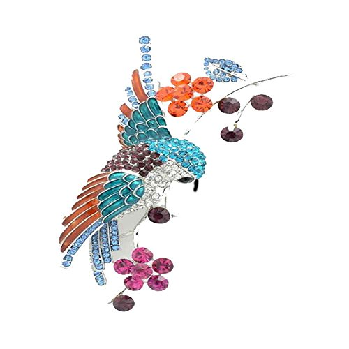 discount PANGRUI Colorful Crystal Hummingbird Standing on a Branch Brooch Pins,Exquisite Design Brooch Pins supplies