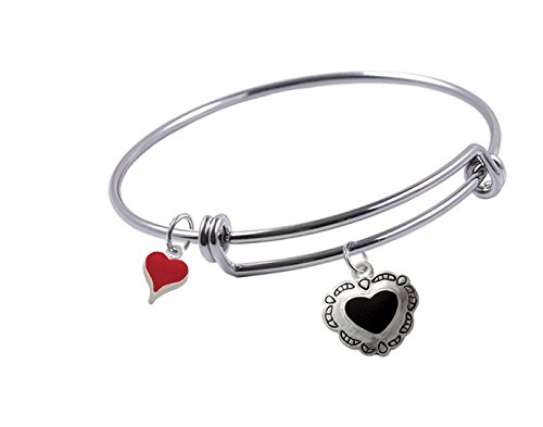 (Expandable Bangle Bracelet with Silver Plated, Enameled, Black Concho Heart and Red Heart Charms, Qty 1)