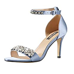 Rhinestone Embellished High Heel Blue Sandal with Ankle Strap