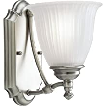 Progress Lighting P3016-81 1-Light Wall Bracket with Etched Glass, Antique Nickel