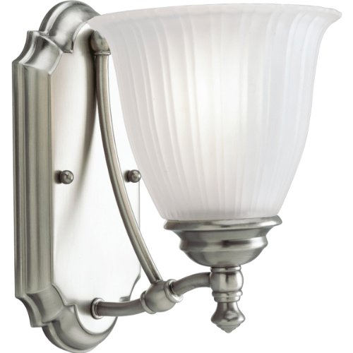 (Progress Lighting P3016-81 1-Light Wall Bracket with Etched Glass, Antique Nickel)