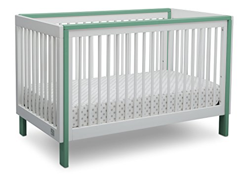 Serta Fremont 3-in-1 Convertible Baby Crib, Bianca White with Aqua