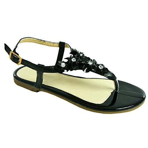 Cucu Fashion Womens Ladies Flower Sandals Girls Flat Heels Sling Back Flip Flops Diamante Studs Peep Toe Casual Summer Shoes Size Uk 3-8 Black y9n5heG
