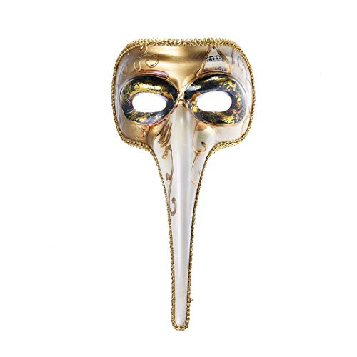 YUFENG Music Notes Long Nose Men's Venetian Masquerade Masked Ball Party Prom Fancy Dress Costume Accessory,Unisex-Adult, One Size(Long -