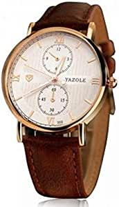 Yazole Luxury Leather Band Chronograph Design Watch For Men, Brown Gold, YZ355