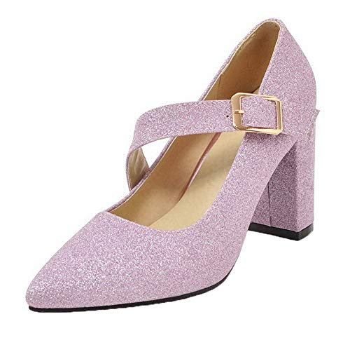 AllhqFashion Flats Donna Alto Ballet Puro Fibbia Viola Tacco FBUIDD006227 6H6q1rcvy