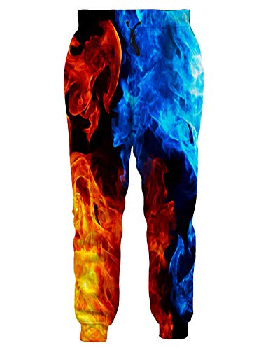 Loveternal Unisex Colorful Joggers 3D Digital Print XL Gold Joggers for Men Graphics Cool Hot Ice Blue Burning Fire Trousers Pants Slim Sports Funny Sweatpants XL ()