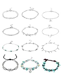 FUNRUN JEWELRY 12 PCS Ankle Bracelet for Women Girls Starfish Turquoise Barefoot Beach Anklet Foot Jewelry Set Adjustable