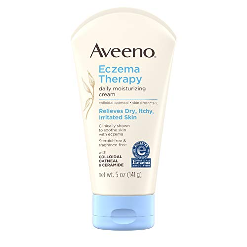 Aveeno Eczema Therapy Daily Moisturizing Cream for Sensitive Skin, Soothing Lotion with Colloidal Oatmeal for Dry, Itchy, and Irritated Skin, Steroid-Free and Fragrance-Free, 5 oz (Pack of 3)