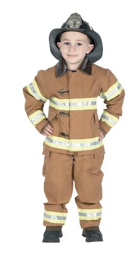 Jr. Fire Fighter Suit with helmet, size 2/3 (tan)