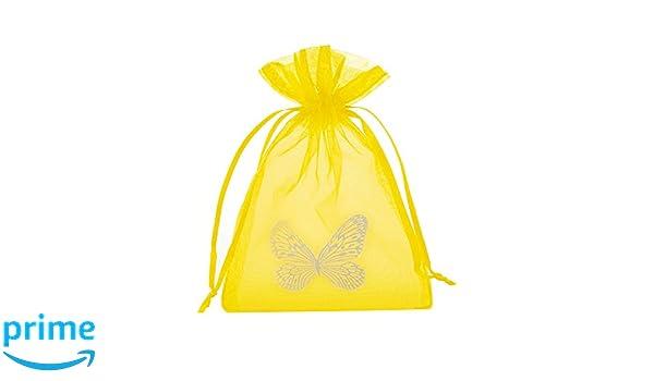 30 bolsitas amarillas de organza con mariposas, Tamaño: 15 x ...