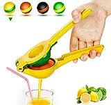 Yimobra Manual Lemon Lime Squeezer, Metal Hand Citrus Juicer Press for Lemons, No Pulp or Seeds, Dishwasher Safe, Premium Quality Juicing Kitchen Tool, Presented A Manual Juicer Stand, Yellow
