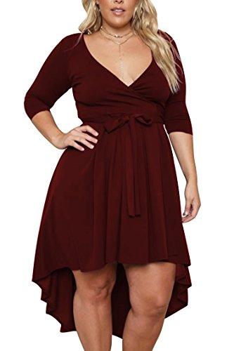 Pink Queen Women's Plus Size Midi Cross Strap Day Dress Wine Red 3XL -
