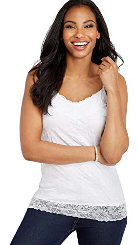 maurices Women's Solid Lace Crinkle Cami Small Brightest White
