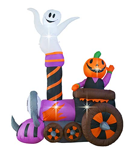 SEASONBLOW 6L x 7.5 H Halloween Train Decoration Inflatable with Ghost Pumpkin Decor Inflatables for Home Yard Lawn Garden Indoor Outdoor