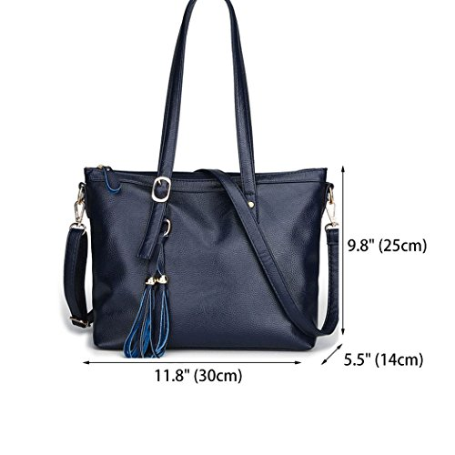 Totes Handbags Womens Bags Deerword And Shoulder Leather Blue Shoppers Shoulder Bags Handbags Pu HTxPw