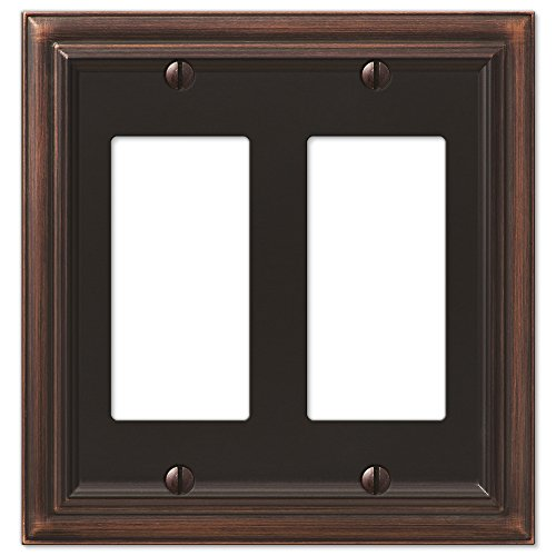 (Amerelle Continental Double Rocker Cast Metal Wallplate in Aged)