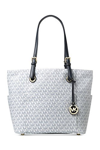 214a690c3dc12 Galleon - Michael Kors Women s Jet Set Travel Small Logo Tote Bag (Optic  White Navy)