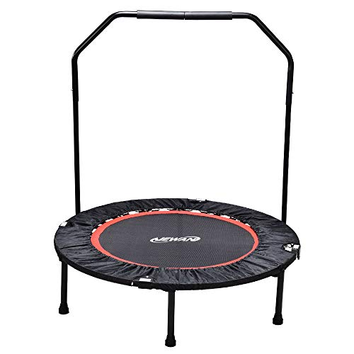 Newan Exercise Trampoline for Adult – 40 Fitness Rebounder Trampoline Handle Bar for Indoor Garden Workout Cardio Training – Foldable Design for Storage.