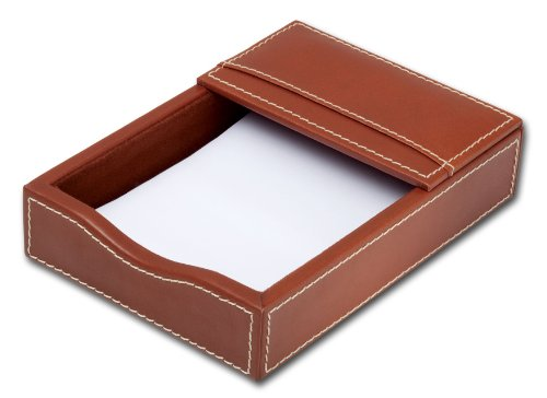 Dacasso Rustic Brown Leather Memo Holder, 4-Inch by 6-Inch