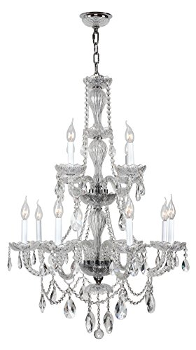 (Worldwide Lighting Provence Collection 12 Light Chrome Finish and Clear Crystal Chandelier 28