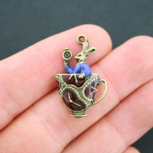 Unique Designer Jewelry Rabbit Teacup Enamel Charms Antique Bronze Tone Alice in Wonderland - BC976 for Your Pendants, Earrings, Zipper pulls, Key Chains