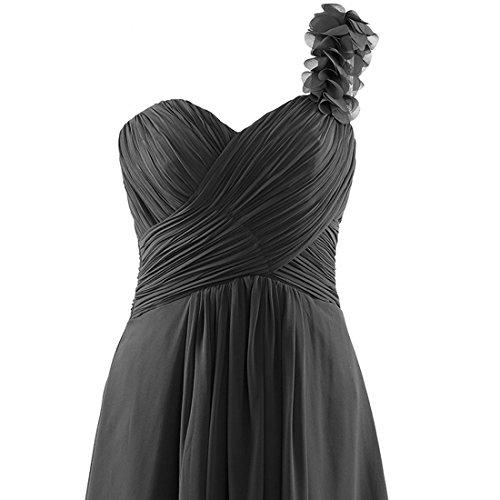 women\'s One Shoulder Sleeveless Bridesmaid Chiffon Prom Dress Long ...