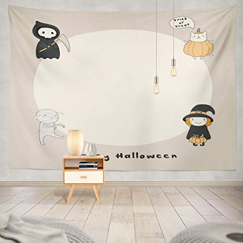KJONG Kawaii Funny Witch Mummy Cat Pumpkin with Happy Halloween Space Objects Line Invitation Animal Baby Bag Basket Decorative Tapestry,50X60 Inches Wall Hanging Tapestry for Bedroom Living Room