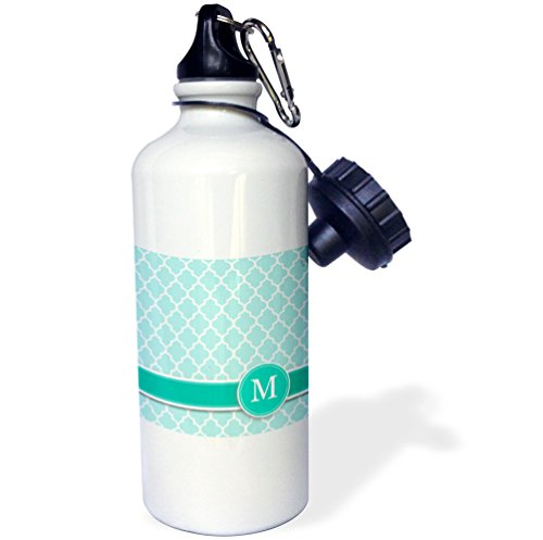 3dRose wb_154553_1 Personalized Letter M Aqua Blue Quatrefoil Pattern Teal Turquoise Mint Monogrammed Personal Initial Sports Water Bottle, 21 oz, White
