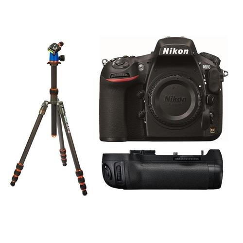 Nikon D810 DSLR Camera (Body Only) – Bundle With MB-D12 Multi Battery Power Pack/Grip, 3 Legged Thing Billy 5-Section Carbon Fiber Tripod with AirHed Neo Ballhead