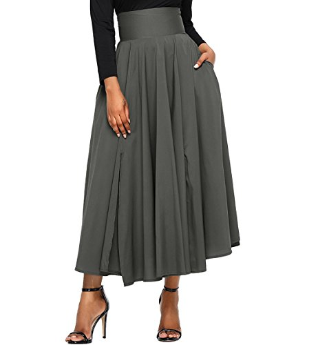 FIYOTE Women Pleated High Waist Street Skater Vintage Swing Midi Skirt Large Size Grey