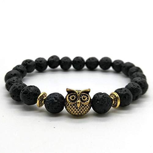 (Gabcus Cute Bear Brand Owl Head Bracelets Women Jewelry Unisex Popular Lava Rock Black Matte Stone Beadeds Bracelets Men Pluseras Mujer - (Metal Color: Gold Owl Lava Rock))