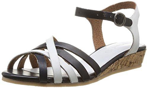 Kickers Cocoli, Sandales compensées femme Noir (Noir/Blanc)