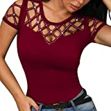 NANTE Top Casual Loose Blouse O-Neck Short Sleeve
