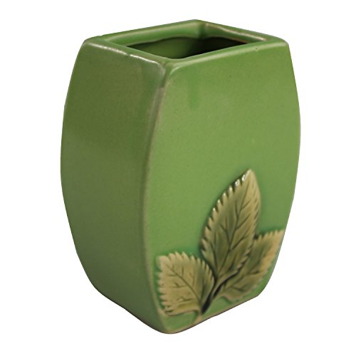 NW Wholesaler - Oval Green Leaf Design Planter Pot for Flowers, Bamboo and Small Indoor (Lucky Bamboo Pot)