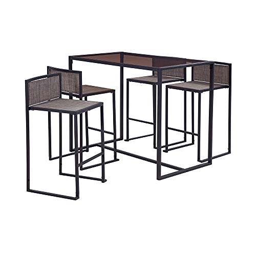 Liberty Garden Patio SS-K-833B-5BK Drake 5-Piece High Dining Set, Black (Patio Furniture Top High Sets)