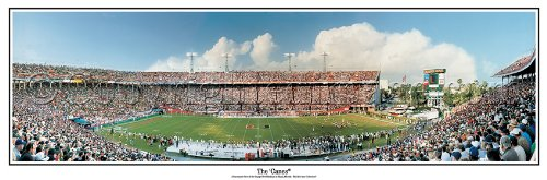 Miami Hurricanes Orange Bowl Stadium The Canes - NCAA Collage Football 13.5x39 Panoramic Poster. Frame Dimensions 15.5x41 Deluxe Double Matt & Brown