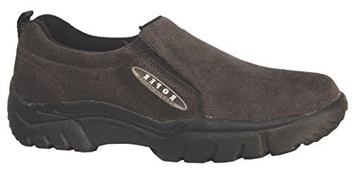Roper Men's Performance Wide Width Suede Slip-On Shoes Round Toe Brown US by Roper